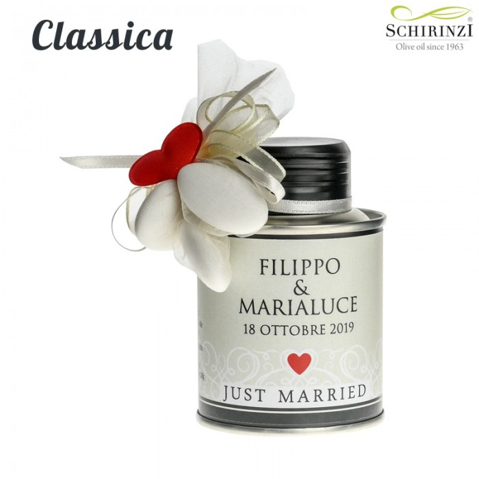Just Married classic - wedding favors or wedding place cards with extra virgin olive oil
