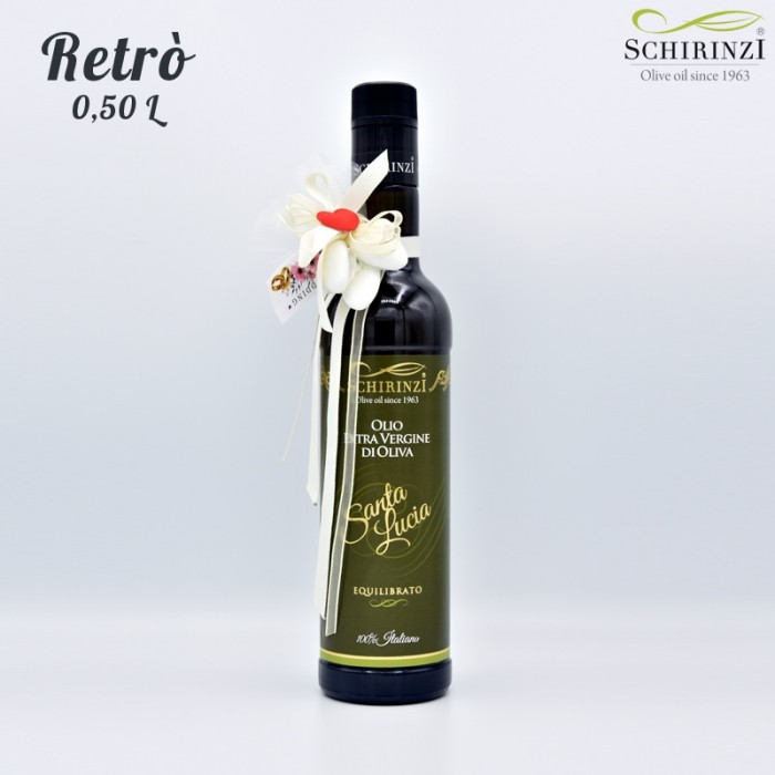 Retro favor for weddings with 0.50 L bottle of Extra Virgin Olive Oil