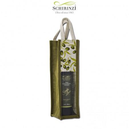 Borsa juta con olive una bottiglia per regalistica