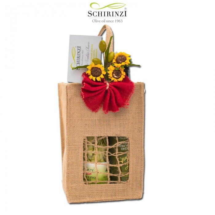 Natural jute bag for gifts