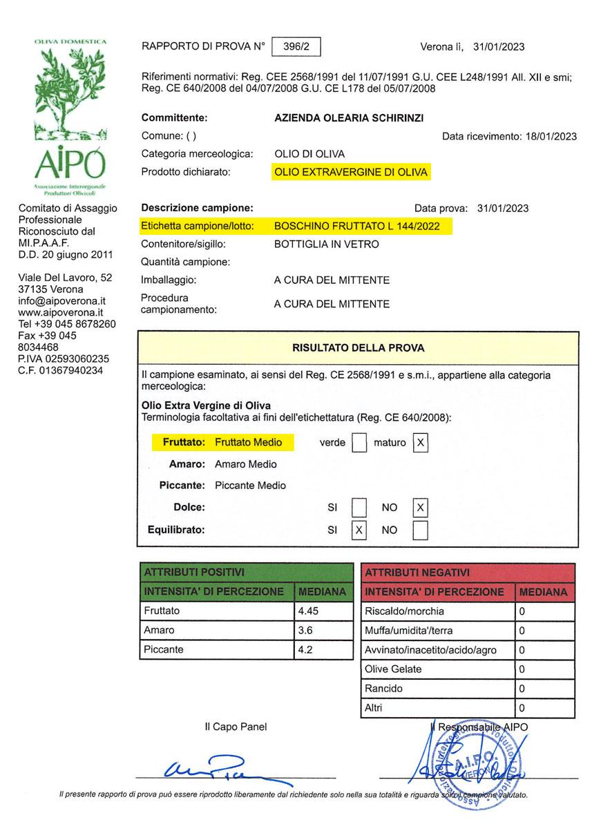 Sensorisches Profil Boschino-Öl 2020/2021